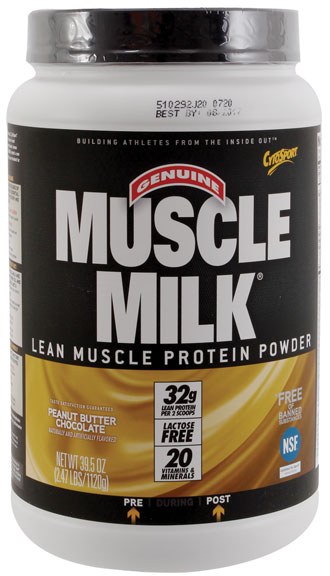 Muscle Milk Drink  Mix, Peanut Butter Chocolate 2.47lb  comfortably